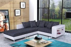 modernes sofa ecksofa eckcouch in schwarz weiss mit hocker dresden l