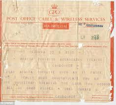 cirque bureau telegram sent by noel coward to agatha christie congratulating