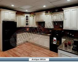 White Glazed Cabinets With Black Appliances Dark Sassy Kitchen