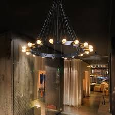 industrial loft flush mount ceiling light in bare edison bulb