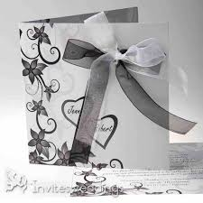 Black And White Ribbon Folded Wedding Invitations IWGY007