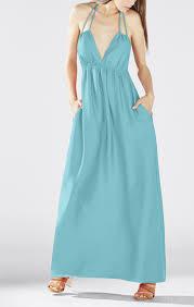 bcbgmaxazria kamala open back halter maxi dress in blue lyst