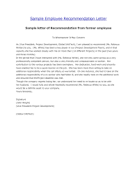 Recommendation Letter Template Employee Calmlife091018com