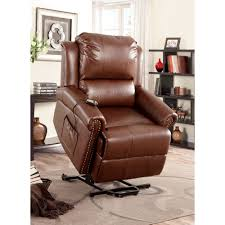 Furniture Dark Brown Leather Power Lift Recliners Wooden Floor