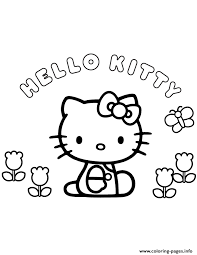 Hello Kitty Flowers And Butterfly Coloring Pages