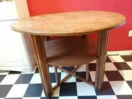 vintage beistell wohnzimmer tisch rund dunkles holz