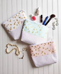 Cosmetic Bag Pouches Gold Glitz Pink Makeup Bags Metallic Zipper