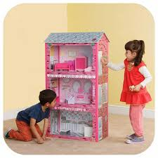 Personalized Large Wooden Kids Doll House Barbie Kit Girls Play