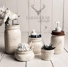 Antique White Rustic Mason Jar Bathroom Set