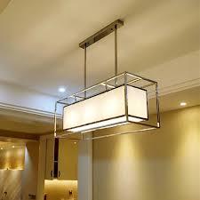 edelstahl längliche rechteck quader lange pendelleuchte le stoff hängen droplight esszimmer pendelleuchte licht