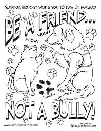 Anti Bullying Colouring Pages 4 Coloring Surf Dog Ricochet