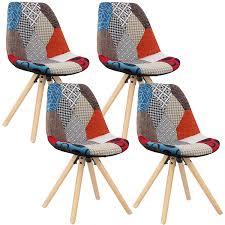 woltu 4 x esszimmerstühle 4er set esszimmerstuhl mit sitzfläche aus leinen design stuhl küchenstuhl holz patchwork mehrfarbig bh52mf 4