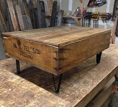 Reclaimed Fruit Crate Coffee Table With Metal Legs And Hinged Blanket Storage