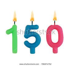 Burning birthday candles isolated on white background number 150