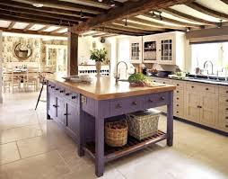 Rustic Industrial Kitchen Decoration White Ceiling With Rugged Wooden Beams Matte Purple Traditional