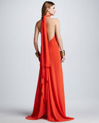 alexis jasara lowback halter maxi dress in red lyst