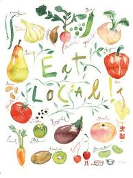 Items Similar To Eat Local Poster Kitchen Art Print Food Illustration Watercolor Fruit Vegetable Garden Home Decor Farmers Market On Etsy