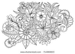 Coloring Book PageFlower Pattern In Black And White Can Use For Print