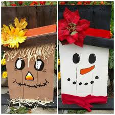 Reversible Snowman Scarecrow Reclaimed Recycled Renewed Wood Pallet Sign Art Unique Gift Fall Winter