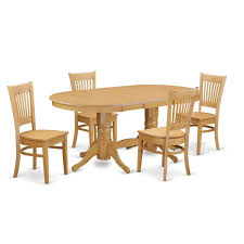 Vancouver VANC5 OAK Oak Rubberwood Dining Table With Leaf And 4 Chairs