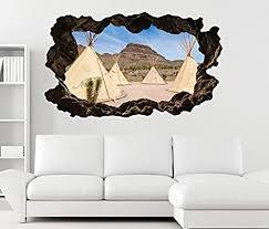 3d wandtattoo indianer dorf zelt usa amerika berg wüste