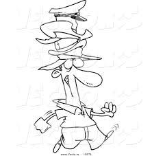 Vector Of A Cartoon Man Wearing Many Hats