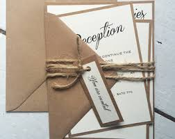 Rustic Wedding Invitation Suite Ivory Brown And Twine