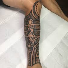 Polynesian Half Calf Sleeve Done My Tripps Kahai At Ascension Tattoo In Orlando Florida