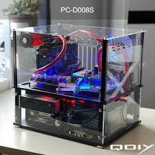 QDIY PC D008S Colorful Horizontal ATX Transparent Water Cooled Acrylic Computer Case In Cases Towers From Office On Aliexpress
