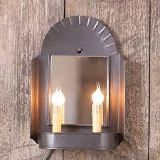 primitive new smokey black tin inn keeper wall sconce light