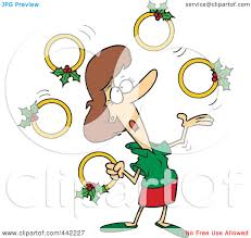 Royalty Free RF Clip Art Illustration Of A Cartoon Christmas Woman Juggling Five Golden Rings By Toonaday