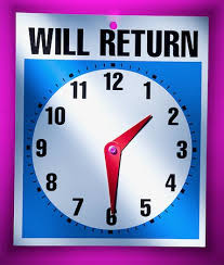 Will Return Clock Sign Stock Photo