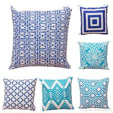 Set Of 6 Novelty Geometric Waterproof Cotton Linen Square Decorative Throw Pillow Cases Sofa Cushion Covers 1818inch Outdoor Settee Cushions Black And