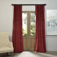 Absolute Zero Curtains Red by Exclusive Fabrics Signature Warm Black Velvet Blackout Curtain