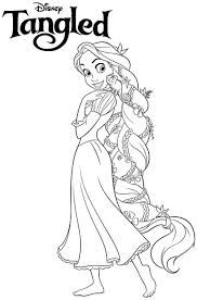 Disney Princess Tangled Rapunzel Coloring Pages Free Printable For Inside