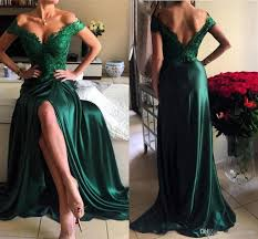 dark green long prom dresses lace v neck off shoulder front