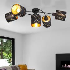 deckenleuchte 5 flammig deckenstrahler schwarz gold dekor stanzungen 5x e27 textil schirme l 79 cm wohnzimmer schlafzimmer