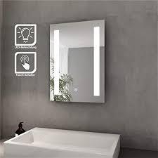 badspiegel mit led beleuchtung lichtspiegel 45 x 60 cm kaltweiß ip44 energiesparend sensor schalter bad spiegel badezimmer wandspiegel