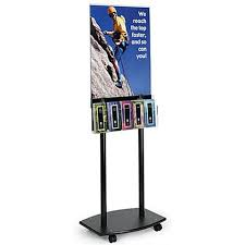 Acrylic Sign Holder Stand w Brochure Holder – Displays Done Right