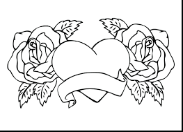 Coloring Pages Flowers And Hearts Roses Printable Skull Multi Colored Rose With Food Games Full