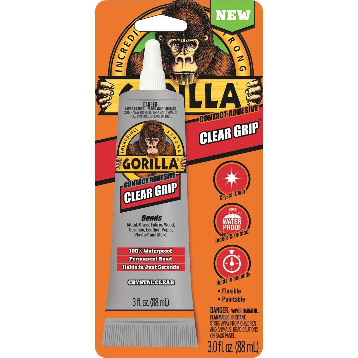 Gorilla 8040001 Clear Grip Contact Adhesive - 3oz, Clear