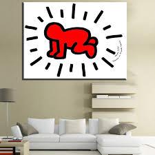 zz1434 einfache leinwand kunst kleine baby keith haring leinwand bilder öl kunst malerei für hauptdekoration ungerahmt leinwand kunst