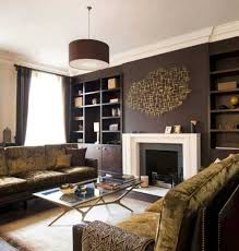 Chocolate Brown Accent Wall Color With Luxurious Velvet Sofa For Elegant Family Room Makeover Ideas Drum Shaped Pendant Lamp