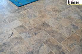 silver travertine tile herringbone floor tutorial tool belt