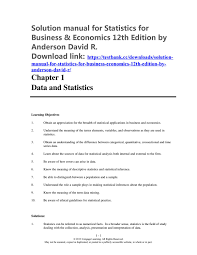 Solution Manual For Statistics For Business & Economics 12th ...