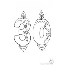 Coloring Page of Number Thirty Birthday Candle for coloring