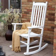 Mission KN 28W White Wooden Porch Rocking Chair - Great Brands USA