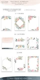 Neutral Wedding Flower Clipart Watercolor Background Rustic Vintage Floral Border Clip Art Invitation