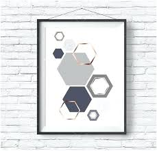 Copper Wall Art Home Decor Grey And Rose Gold Print Gray Geometric