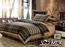 Top Quality Yarn Dyed  Cotton Man Plaid Duvet Cover Sheet Sets